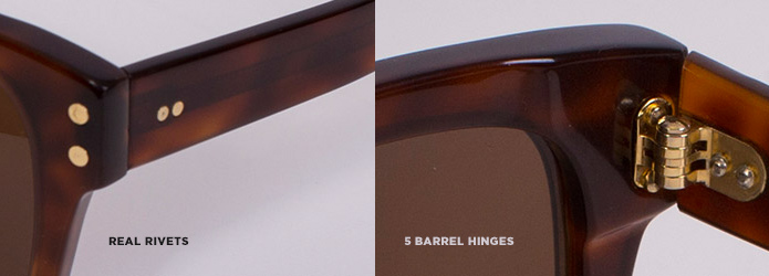 Real rivets and 5-barrel hinges of Ellison glasses