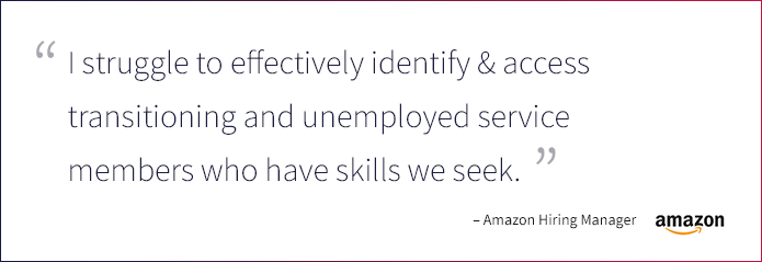 I struggle to effectively identify & access transitioning and unemployed service members who have skills we seek