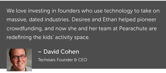 David Cohen's (Techstars) quote about Pearachute