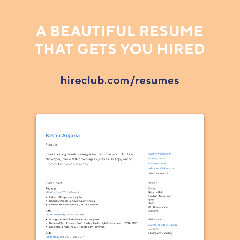 we are launching the beta of the resume builder httpshireclubcom resumes