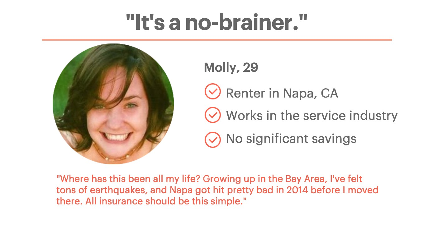 Quote from customer Molly, 29 year old renter