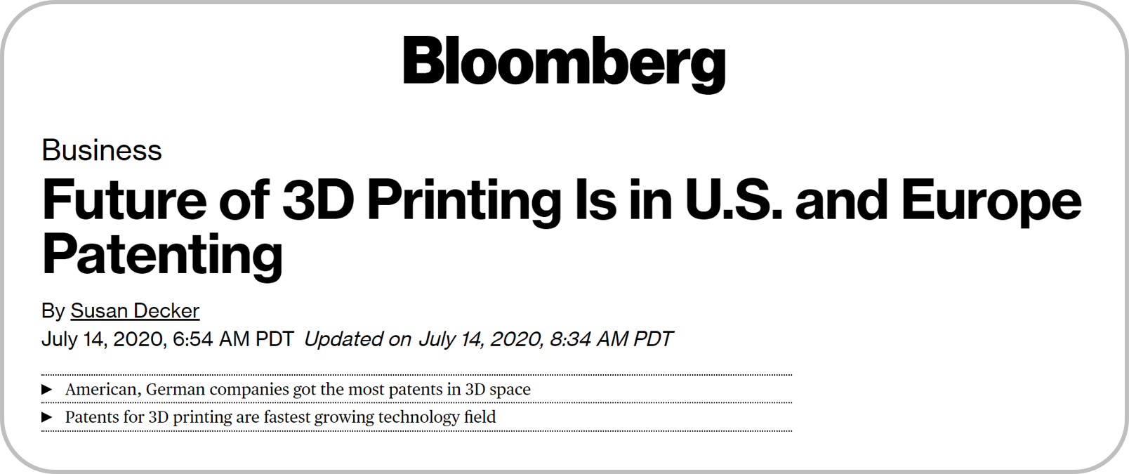Bloomberg: The Future of 3D Printing Is in US and Europe Patenting